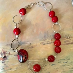 Jewelry - Exotic Necklace Sterling & Red Beads Boho Artisan